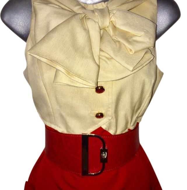Item - Red+beige Girl Stunning Silk Tuxedo Seen On Blair Waldorf In Gossip Mid-length Work/Office Dress Size 0 (XS)