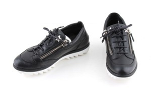 Giuseppe Zanotti Black Nero Leather Double Zip Lace-up Sneakers Shoes