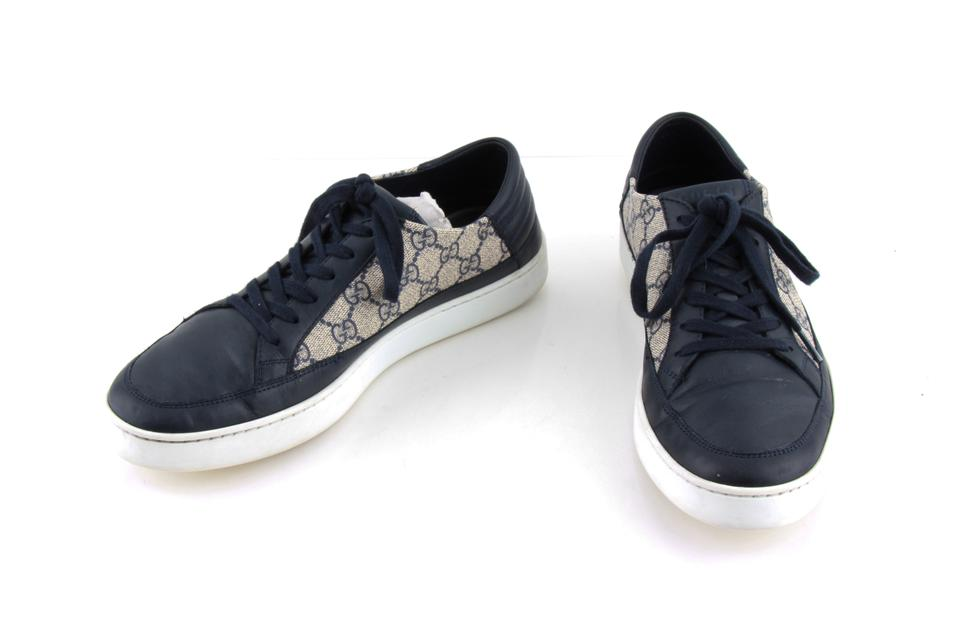 a92fbeab4dd Gucci Blue Gg Supreme Canvas Navy Trim Sneakers Shoes Image 0 ...