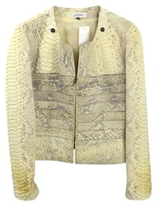 Jean Claude Jitrois Python Fall Winter Date IVORY/ GREY Leather Jacket