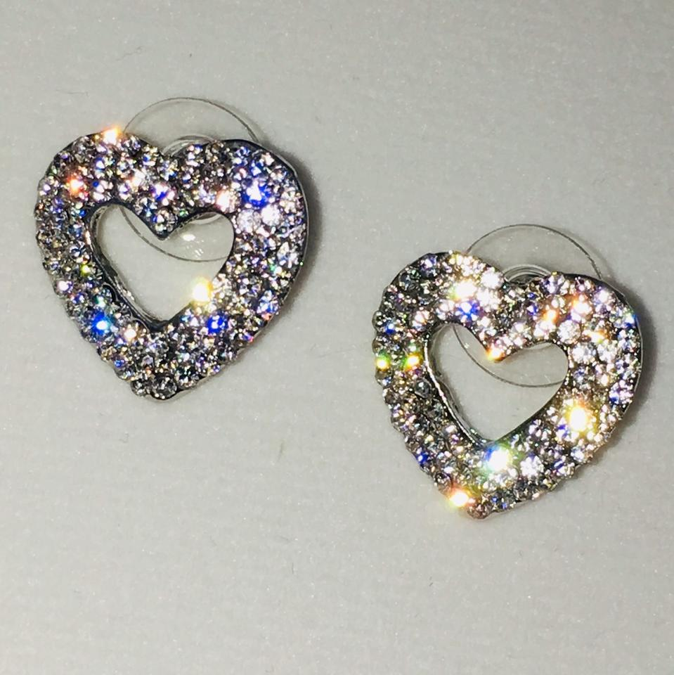 Eve St Claire 14k White Gold Plated Heart Pave Earrings Manmade Diamond