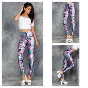 Blackmilk Women Pink Blue Leggings