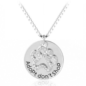 Fashion Jewelry For Everyone Adopt Don't Shop Pet Paw Rhinestone Necklace