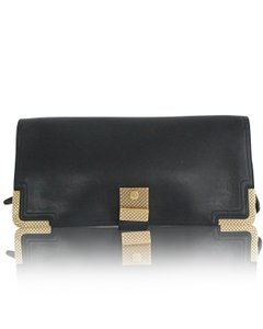 Bottega Veneta Gold Hardware Black Clutch