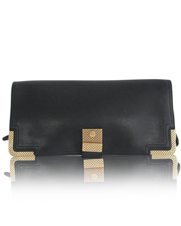 45d481e929f7 Bottega Veneta With Gold Hardware Black Leather Clutch - Tradesy
