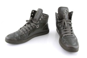 Gucci Green Military Gg Imprime and Leather Interlocking G Hi-top Shoes