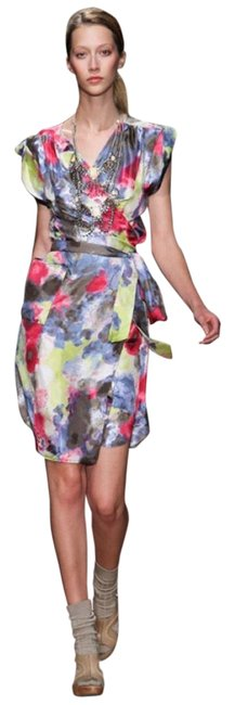 Item - Pink Multi Silk Abstract Wrap Short Cocktail Dress Size 2 (XS)