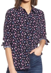 Rails Hearts Silk Blouse Button Down Shirt Navy