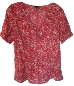 Banana Republic Top Red and Off White