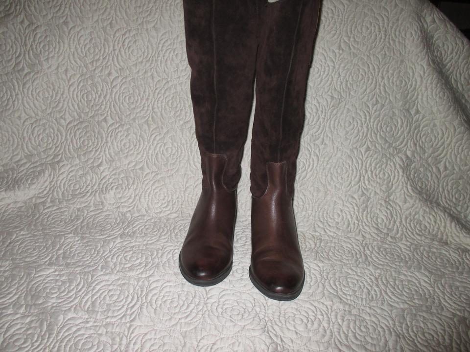 90c431900f0e Sam Edelman Brown Pembrooke Leather Suede Riding Tall Zip Boots ...