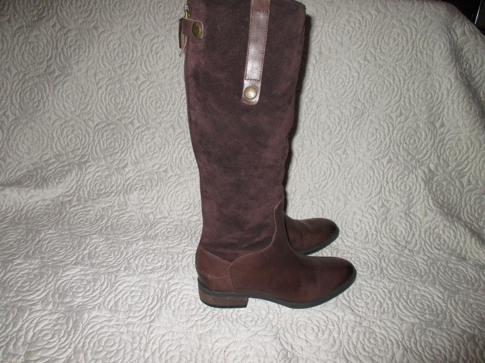 a9dea7809ae1 Sam Edelman Brown Pembrooke Leather Suede Riding Tall Zip Boots Booties  Size US 7.5 Regular (M