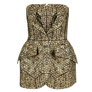 Alexander McQueen Jacquard Strapless Top Gold and Black