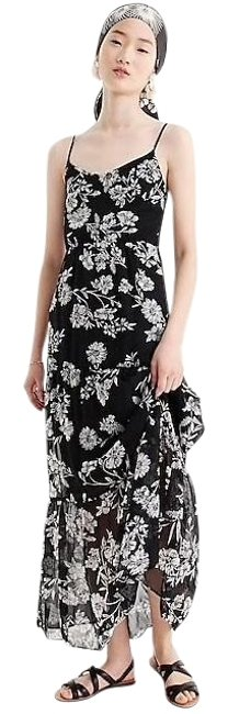 Item - Black and Off White & Floral Long Casual Maxi Dress Size 8 (M)