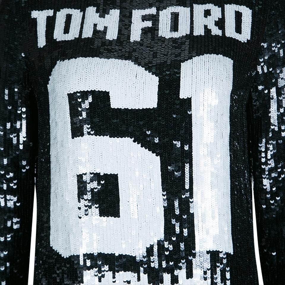 0ca17fe2 Tom Ford Black Sequin Embellished Molly Football Jersey Shift Short Casual  Dress Size 4 (S) - Tradesy