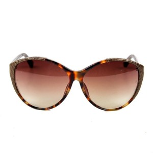 Linda Farrow New: Linda Farrow Brown Leather & Tortoise Shell Sunglasses