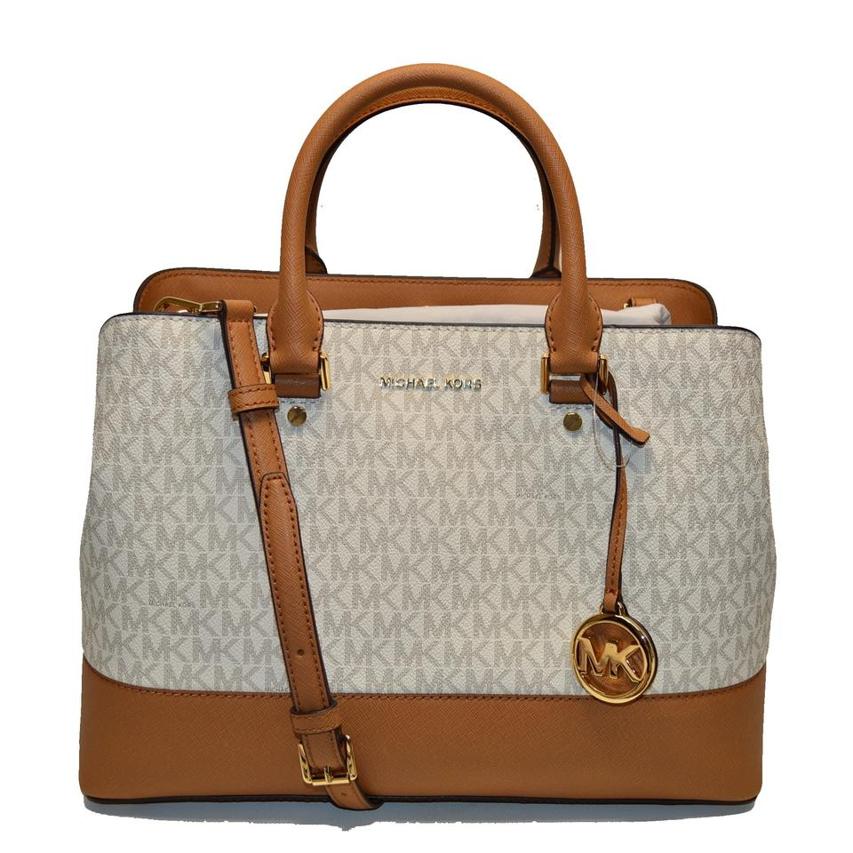 0a55f31c2520 Michael Kors Convertible Savannah Large Signature Satchel in Vanilla Acorn  Image 0 ...
