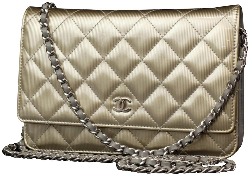 59fc7e17506 Chanel Wallet on Chain Classic Flap Quilted Pinstripe 231183 Gold Patent  Leather Cross Body Bag
