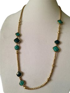 Lucky Brand Faceted Turquoise & Teal Stone In Gold-Tone Necklace