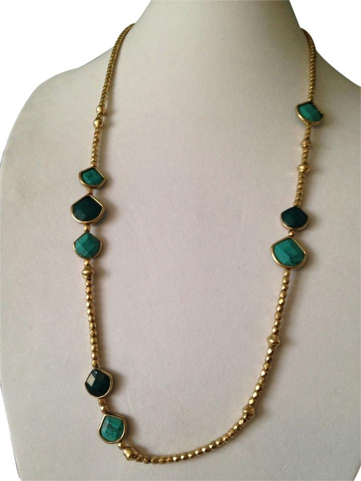0c70ed57427aa Lucky Brand Turquoise/Teal/Gold Faceted Stone In Gold-tone Necklace 50% off  retail