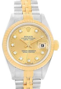 Rolex Rolex Datejust 26 Yellow Gold Steel Diamond Dial Womens Watch 69173