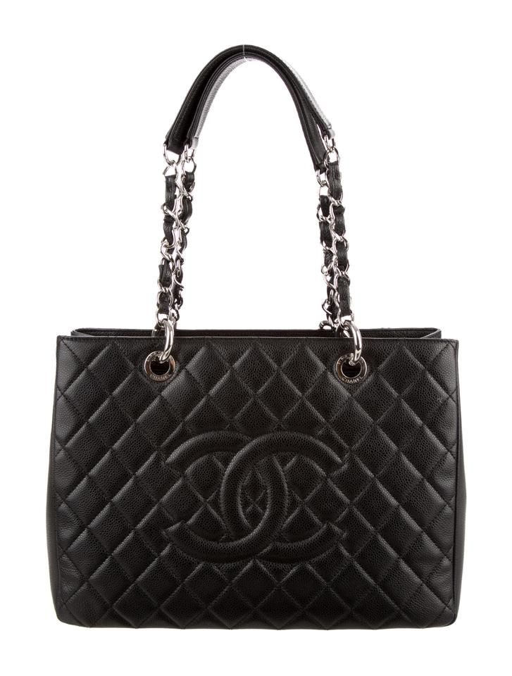 4c38211b82279f Chanel Grand Shopping Gst Quilted Flap Shw Classic Timeless Black Caviar  Leather Tote