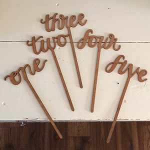 BHLDN Natural Wood Table Numbers Centerpiece