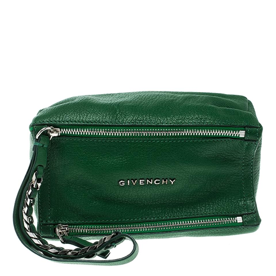 0fe26c1f34b Givenchy Pandora Green Leather Clutch - Tradesy