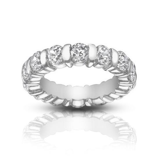 Preload https://item2.tradesy.com/images/madina-jewelry-white-500-ct-ladies-round-cut-diamond-eternity-band-in-bar-setting-ring-24049376-0-0.jpg?width=440&height=440