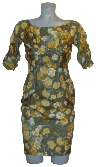 Preload https://item1.tradesy.com/images/green-yellow-vintage-floral-pencil-mid-length-cocktail-dress-size-00-xxs-24049400-0-1.jpg?width=400&height=650