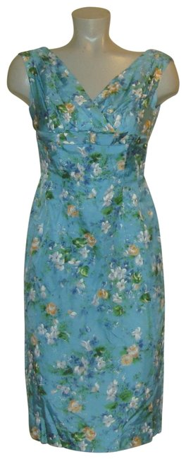 Preload https://item3.tradesy.com/images/blue-vintage-couture-floral-rayon-sleeveless-pencil-mid-length-cocktail-dress-size-2-xs-24049447-0-1.jpg?width=400&height=650