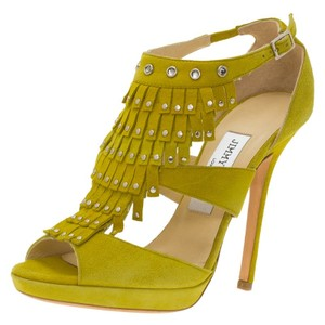 Jimmy Choo Suede Studded Platform Yellow Sandals