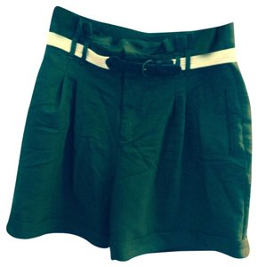 Anthropologie Shorts Green, Cream Belt