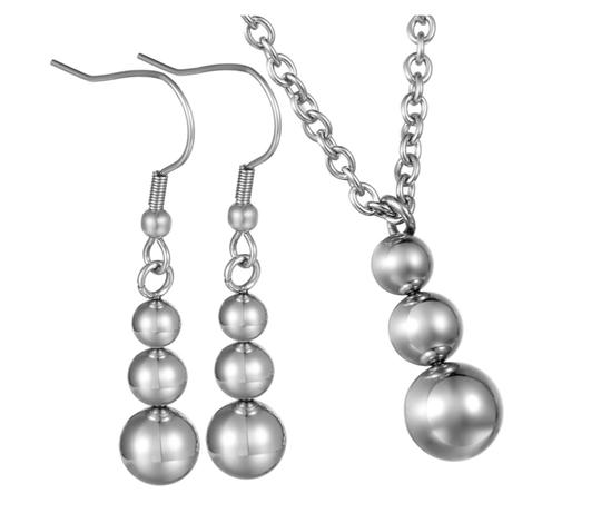 Xquisite by DESYGN BEADED TRIPLE BALL DANGLING NECKLACE EARRRING SET