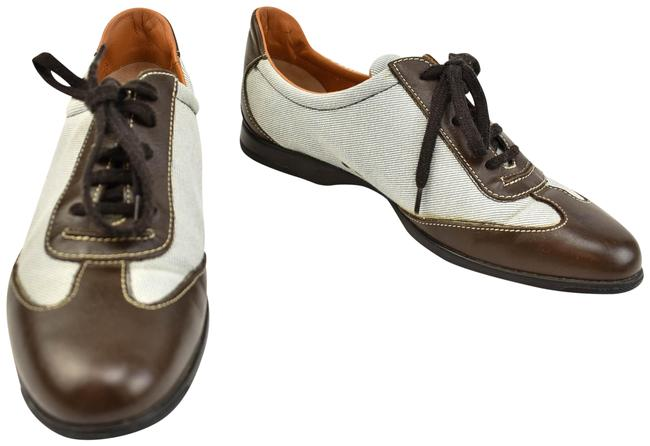 Item - Brown Leather & Canvas Sneakers Size US 9 Regular (M, B)