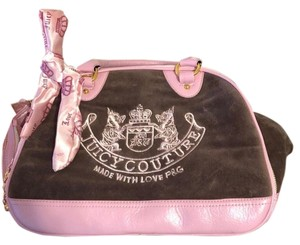 Juicy Couture Tote in Pink and Brown with gold zipper accents