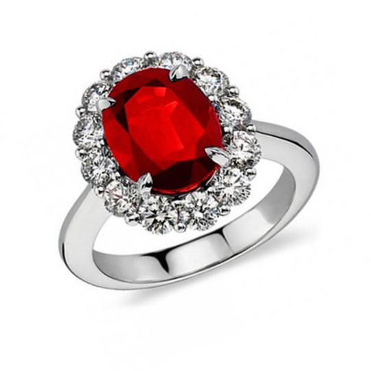 Madina Jewelry White 7.09 Ct Oval Shape Ruby and Diamond Anniversary Ring