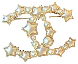 Chanel Gold Star Resin Pearl Large CC Brooch