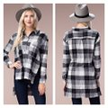 Chloah Plaid High Low Tunic Button-down Top Size 6 (S) Chloah Plaid High Low Tunic Button-down Top Size 6 (S) Image 1