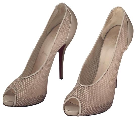 Christian Louboutin Beige Patent Leather Peeptoe Pump Pumps