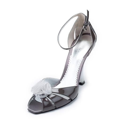 Giorgio Armani Evening Sandals Dress Lacquered Patent Leather Gray Wedges