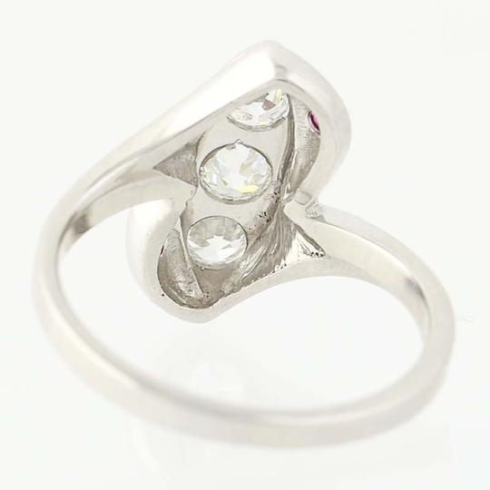 Other Art Deco Diamond & Ruby Bypass Ring - 900 Platinum Vintage N8206