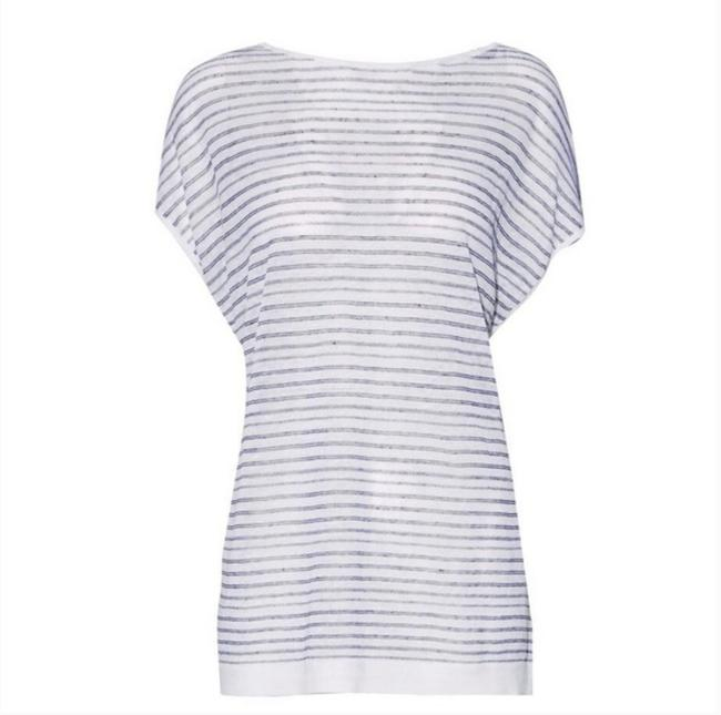 Preload https://item3.tradesy.com/images/theory-white-and-blue-tie-back-striped-linen-blend-knitted-blouse-size-petite-4-s-24049692-0-0.jpg?width=400&height=650