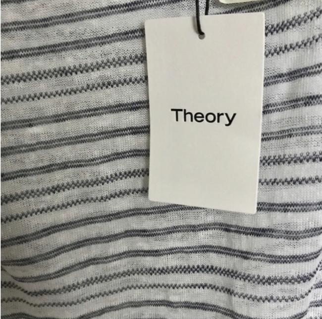 Theory Linen Striped Open Back Top White & Blue