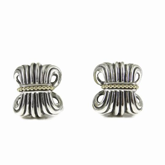 Lagos Lagos Vintage Sterling Silver 18K Yellow Gold Wheat Earrings