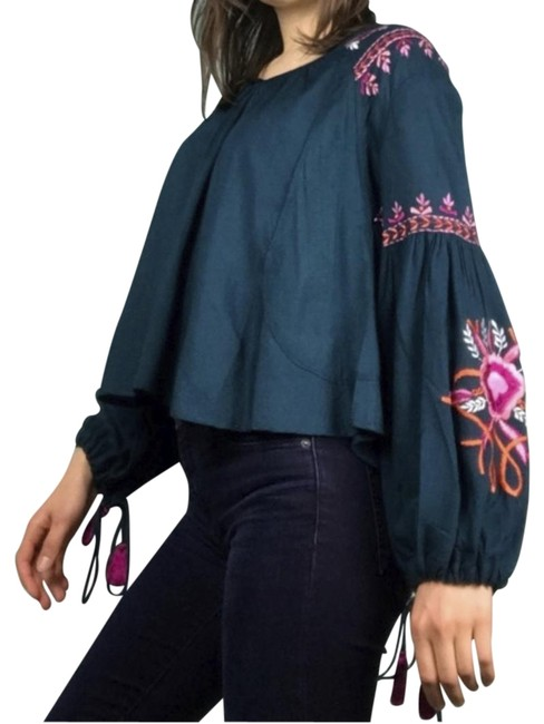 Preload https://img-static.tradesy.com/item/24049728/kas-new-york-blue-embroidered-tunic-size-4-s-0-1-650-650.jpg