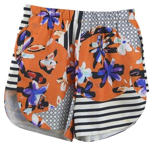 Clover Canyon Print Summer Fall Night Out Bright Dress Shorts BLACK/ ORANGE/ MULTI