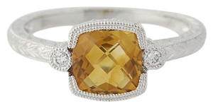 Other NEW Citrine & Diamond Ring - 14k White Gold Milgrain Accents N8408-001