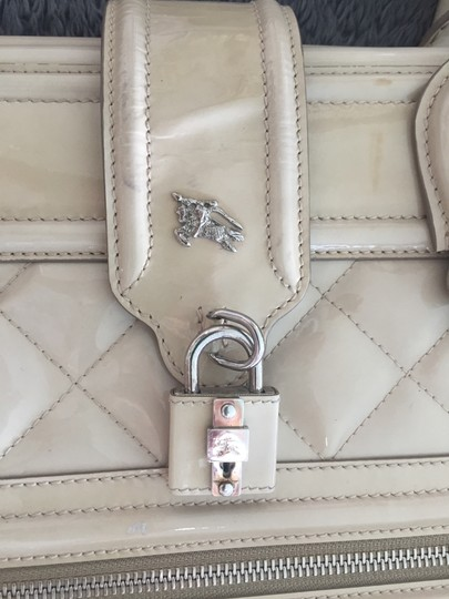 Burberry Prorsum X-Large Studded Patent Leather Natural Hide Monogram IVORY Clutch