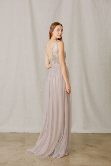 Amsale Fawn Lace/Tulle Dayna Gb041 Formal Bridesmaid/Mob Dress Size 14 (L)