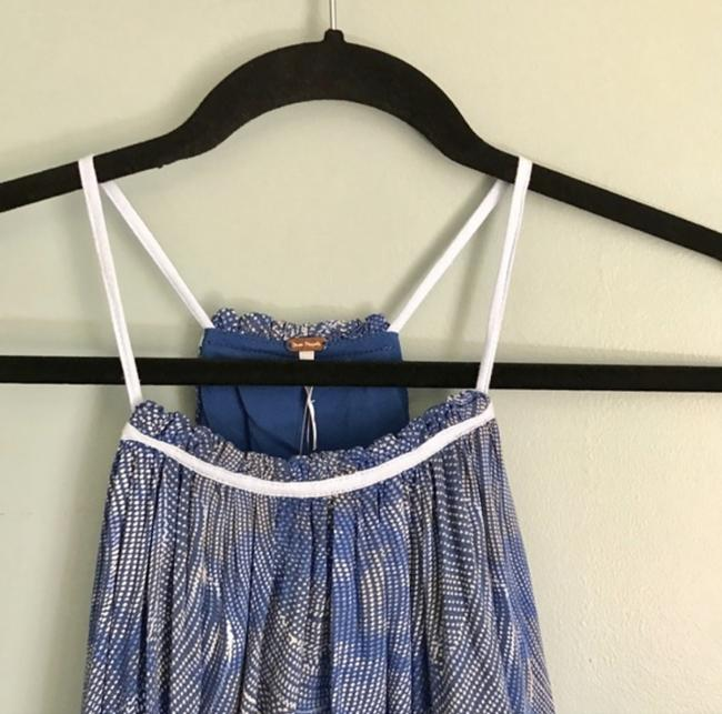 Free People Lace-up Rayon Pleated Tie Closure Top Blue & Grey